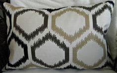 "NEW - Designer Decorative Throw Pillow Cover - Ikat Trellis - Dwell Studio - 12"" x 18"" Lumbar. $22.00, via Etsy."