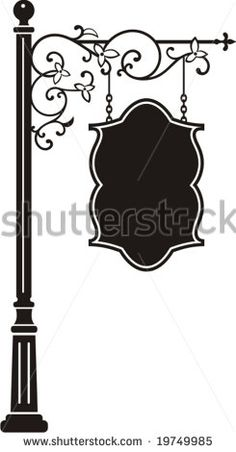 Exquisite hanging sign with ornamental details, vector series. Molduras Vintage, Clipart Design, Iron Art, Street Lamp, Iron Decor, Street Signs, Hanging Signs, Pyrography, Doodle Art