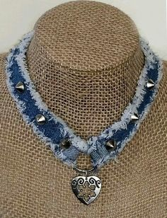 Denim Necklace Choker Handmade from Recycled Blue Jean Denim with Decorative Embellishments, Metal Studs, Ring with Heart and Fringed Edges MaisBlue denim choker necklace handmade using recycled blue jeans. This necklace was fun to make, I loveDesigner Je Jewelery, Jewelry Necklaces, Beaded Necklace, Necklace Set, Gold Earrings, Denim Earrings, Baby Earrings, Necklace Charm, Small Earrings