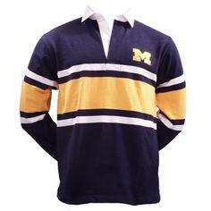 affcd2f2d2d5d0 Moe Sport Shops - UM 3-CLR Striped Rugby Shirt - Navy   Gold Michigan