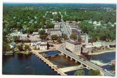 colour chrome of the and early . great aerial view of Fenelon Falls Historical Pictures, Historical Sites, Canada Eh, Picture Postcards, Picnic Area, Aerial View, Old Photos, City, Esl