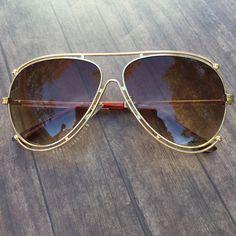 ·Gold Framed Aviators · Brown Lens