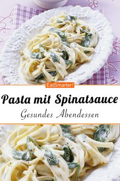 Pasta mit cremiger Spinatsauce Vegetarian for connoisseurs: pasta with creamy spinach sauce – 497 kcal – quick recipe – simple dish – the recipe is so healthy: / 10 Chicken Pasta Recipes, Healthy Chicken Recipes, Easy Healthy Recipes, Crockpot Recipes, Vegetarian Recipes, Quick Recipes, Egg Recipes, Pizza Recipes, Free Recipes