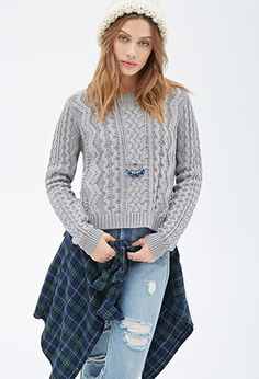 Boxy Cable Knit Sweater   Forever 21 - 2000120113