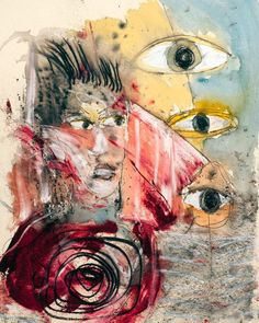 """Eyes 2016 30"""" X 22"""" watercolor and crayon on handmade paper #art #artist…"""