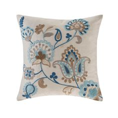 Madison Park Spring Florals Blue/ Taupe Linen Embroidered Square Pillow x Taupe), Size 20 x 20 Chain Stitch Embroidery, Diy Embroidery, Embroidery Stitches, Taupe Bedding, Jacobean Embroidery, Decorative Pillow Covers, Decorative Accessories, Natural Linen, Linen Fabric