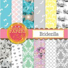 Wedding digital paper 'Bridezilla' roses and lace bridal backgrounds x 12