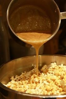 Carmel Popcorn: 1 cup brown sugar, 1/2 cup butter, 1 cup light Karo Syrup,  1 can sweetened condensed milk  Melt all ingredients in a sauce pan over medium-low heat. When boiling, cook approximately two minutes, stirring constantly. Then pour immediately over 3 bags of microwave popcorn.
