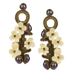 JJ Caprices - Hand Crocheted Flower Earrings - Ivory