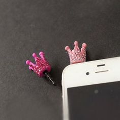 Chic Sweet Style Rhinestone Embellished Crown Shape Cellphone Dustproof Plug For Women