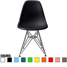 2xhome – Black Plastic Molded Dinning Chair Eames Side No Arm Ray chair (Chromed Wire Metal Base Eiffel Leg)