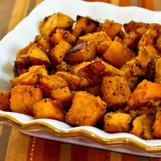 roasted butternut squash. Sprinkle with a little olive oil, work to get all pieces coated. Sprinkle with a little cinnamon and sugar mixture, mix to get coated. Bake at 350 for 20-30 minutes. Enjoy!! Tastes like little bites if sweet potato!!! Yummy for the tummy!!