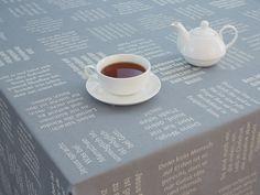 Gastfreundschaft und gute Gespräche - Gewebte Zitate Tableware, Silver Ash, Hemp, Bible Verses, Weaving, Textiles, Quotes, Dinnerware, Tablewares