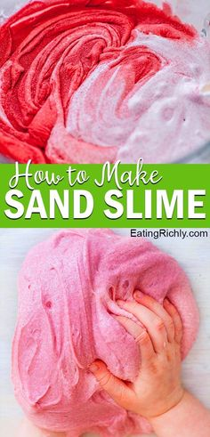 This sand slime recipe combines our perfect fluffy slime with brightly colored sand to make a fun textured slime that provides hours of sensory play. Fun Projects For Kids, Fun Activities For Kids, Diy For Kids, Crafts For Kids, Kids Fun, How To Make Sand, How To Make Slime, Sand Slime, Diy Slime