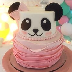 Cute panda cake for baby girl Panda Birthday Cake, Girl Birthday, Birthday Animals, Panda Party, Bear Party, Bolo Panda, Panda Baby Showers, Panda Cakes, Panda Bear Cake