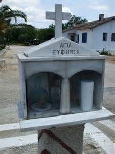 Greek Orthodox shrine outside Nafplio, Peloponnese, Greece, dedicated to Saint Efthimia.