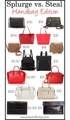 Splurge vs. Steal: Handbags // Wear It For Less @wearitforless