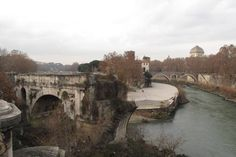 "Rome...Tiberina island and ""broken bridge"""