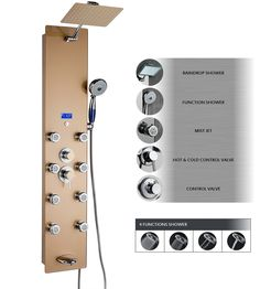 """Gold AKDY® 52"""" Tempered Glass Wall Mount Type Multi-Function Rainfall Style Massage Jets Handheld Wand Tub Spout Shower Panel Tower System ~ http://walkinshowers.org/best-walk-in-shower-panels-review.html"""