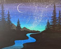 by the riverside while you gaze up at the beautiful night sky. Are you looking for some Easy Painting for home Decor? The art of starry sky painting is very popular in recent years The Premier Paint & Wine Experience - Manchester, NH Cute Canvas Paintings, Simple Acrylic Paintings, Easy Paintings, Acrylic Painting Canvas, Canvas Art, Diy Canvas, Galaxy Painting, Rainbow Painting, Beach Canvas
