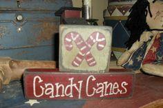Primitive Christmas Shelf Sitter Block Candy Canes | eBay
