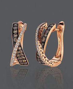 Diamond Earrings, 14k Rose Gold Chocolate Diamond And White Diamond | Macy's #earrings #goldenearrings