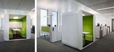 Forget the jokes about  a committees inventing dromedary camels. When French oil company TOTAL decided to move to its new headquarters in Germany, the entire staff was involved, years in advance. Truly refreshing! l  Sound absorbing lightweight-construction cabins for smaller meetings l  STYLEPARK