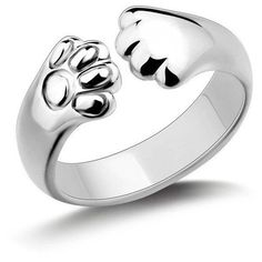 Cat Paw Ring ($11) ❤ liked on Polyvore featuring jewelry, rings, stretch rings, polish jewelry, cat jewelry, mirrored jewelry and cat rings