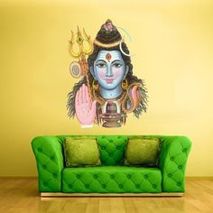 Full Color Wall Decal Mural Sticker Art Namaste Indian Shiva Om Lotos Elephant Lord Hindu Success Buddha India Like Paintings Col160 -- You can find more details by visiting the image link.