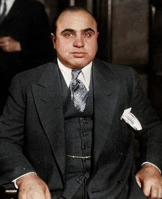 AL CAPONE ~ Born in 1899, to immigrant parents, Capone went on to be the most infamous gangster in American history. He and his gang had a plush suite in a downtown Chicago hotel in the 20's, where they would hold their meetings. In June of 1931, he was finally found guilty on tax evasion. He spent his 6+ years in Alcatraz. Finally, because of his declining health he was let out, and spent his final days with his wife in Florida, and died in January, 1947...