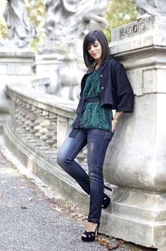 Oil green blouse
