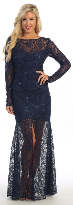 Full Length Lace, Sheath Shape Evening Gowns 2018 has Bateau Neckline and Long Semi Sheer Sleeves, V Open Back with Invisible Zipper Closure, Semi Sheer Skirt with Above Knee Length Slit. Lace Evening Dresses, Spring Dresses, Evening Gowns, Blue Dresses, Lace Dress, Formal Prom, Formal Gowns, Formal Dresses For Teens, Classy Dress