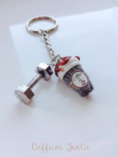 Caffeine Junkie Mocha Latte Coffee and Dumbbell Gym Keyring Perfect for Gym and Coffee Lovers  Keyring - 6 links in length, 63mm  Dumbbell -