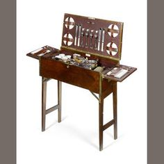 Superb Drew and Sons, wooden and brass edged games table picnic set,