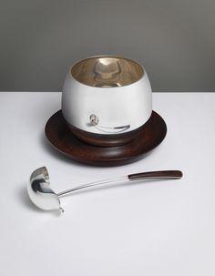 Kay Bojesen silver bowl on teak plate with serving laddle. Kay Bojesen silver. Danish Design