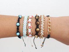 DIY: 5 square knot bracelets