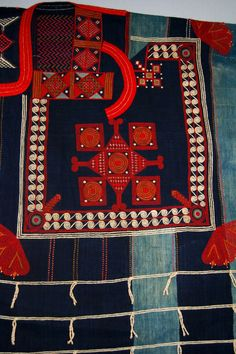 Africa | Detail from a man's Kusaibi (boubou) gown found in Liberia; possibly made by the Mande people of Sierra Leone | Early 19th century