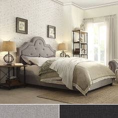 Harper Tufted High Arching Linen Upholstered King Size Bed By INSPIRE Q  Bold (Platform Bed Grey Linen), Grey