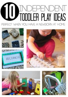 10 independent toddler play ideas. Great ideas for moms who have a newborn at home too.