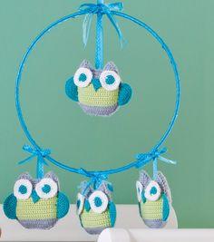 Crochet Owl Mobile FREE pattern, cute! thanks so xox