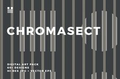 Chromasect is a set of over 60 seamless modern and geometric patterns. The set includes patterns with mid-century modern inspired colors, pastels, black and white and bright high-contrast palettes.
