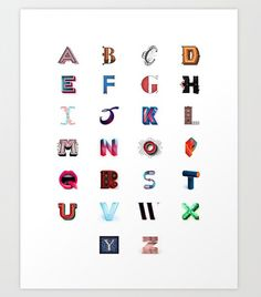 ABC & Alphabet art prints: Illustrated Letters, Set 1 by Chris Rushing