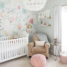Pink, Blue, Gray, Tan. Modern feminine nursery. Wallpaper. Trendy, chic, glam.