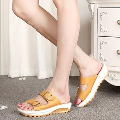 $18.46 High-quality Candy Color Leather Buckle Metal Color Match Platform Beach Sandals Slippers - NewChic