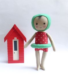 cloth doll in swimming costume, swimming figure, swimming art doll, red polka dot costume by Lybo on Etsy https://www.etsy.com/listing/222367519/cloth-doll-in-swimming-costume-swimming
