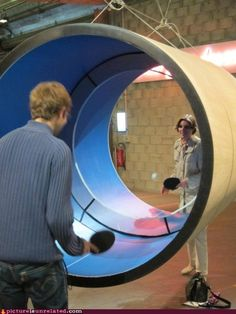 Tube tennis, for those who feel like regular table tennis is way too easy.