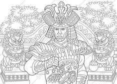 Adult Coloring Pages. Japanese Samurai. Zentangle Doodle
