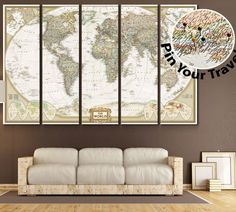 Browse Our Unique Collection Of #Travel #NatGeo #InteriorDesigner FREE  SHIPPING Push Pin World