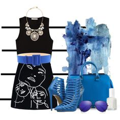 """Black & Blu"" by lacindasarco on Polyvore"