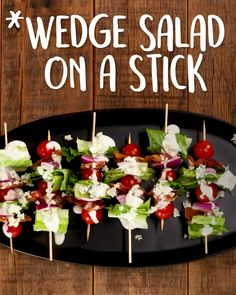 Salad On A Stick Everything you love about the classic, but in portable, party-perfect form. On AWedge Salad On A Stick Everything you love about the classic, but in portable, party-perfect form. On A Wedge Salad on a Stick Snacks Für Party, Appetizers For Party, Appetizer Recipes, Cold Party Food, Party Salads, Tapas Party, Clean Eating Snacks, Healthy Snacks, Healthy Recipes